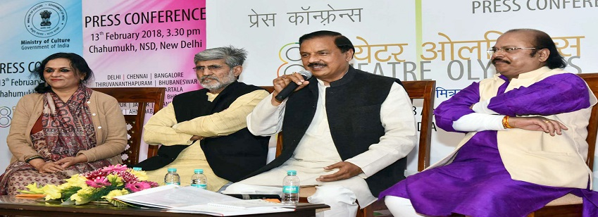 The Minister of State for Culture (I/C), Dr. Mahesh Sharma addresses a press conference on 8th Theat...