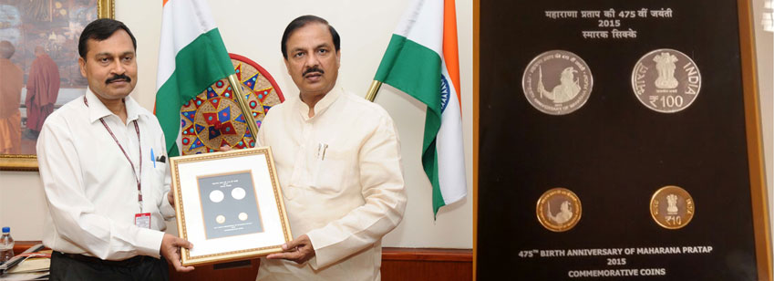 The Minister of State for Culture  and Tourism (I/C) and Civil Aviation, Dr. Mahesh Sharma releasing a coin on Maharana Pratap, in New Delhi on May 09, 2016. The Secretary, Ministry of Culture, Shri Narendra Kumar Sinha is also seen.