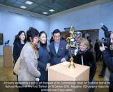 Art lovers appreciating a work of art displayed at the Contemporary Indian Art Exhibition held at the National Museum of Fine Arts, Bishkek on 18 October 2016.  Altogether 1200 persons visited the exhibition over 6 days period.